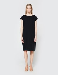 Black Crane Back Slit Dress In Black