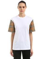 Burberry Cotton T Shirt W Check Sleeves White