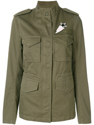Closed Fitted Military Jacket Cotton Polyester Green