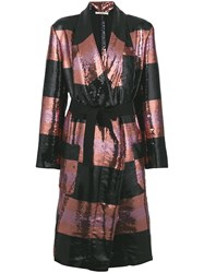 Odeeh Striped Sequin Coat Black
