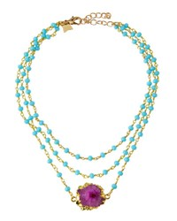 Panacea Triple Strand Beaded Crystal Station Necklace Multi