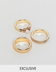 Reclaimed Vintage Inspired Pack Of 3 Gold Mixed Detail Rings Gold