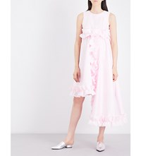 Paskal Ruffle Trim Asymmetric Satin Dress Bubblegum Pink