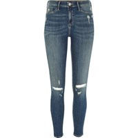 River Island Womens Mid Blue Wash Ripped Molly Jeggings