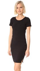 Monrow Fitted Lace Up Dress Black