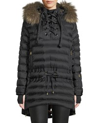 Bogner Fire And Ice Debby Down Puffer Coat W Removable Fur Trim Laces Black