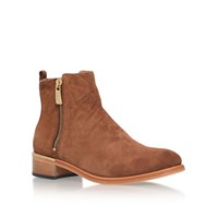 Kurt Geiger Dansey Flat Zip Up Ankle Boots Tan