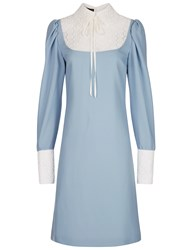 Flow The Label Light Blue Lace Collared Dress