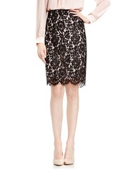 Vince Camuto Scalloped Lace Pencil Skirt Black