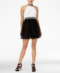 Trixxi Juniors' Contrast Rosette And Tulle A Line Dess White Black