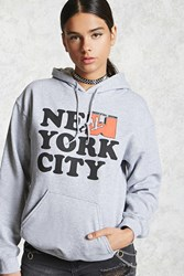 Forever 21 New York City Hoodie Heather Grey Red