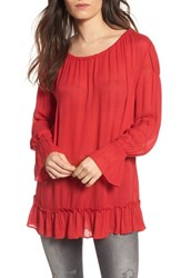 Hinge 'S Tie Back Tunic Red Lipstick
