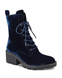 Kendall And Kylie Park Velvet Lace Up Combat Boots Dark Blue