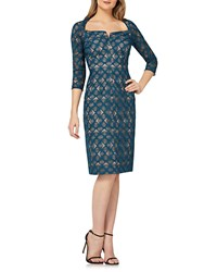 Kay Unger New York Geometric Lace Dress W Portrait Collar Teal