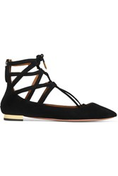 Aquazzura Belgravia Suede Point Toe Flats Black
