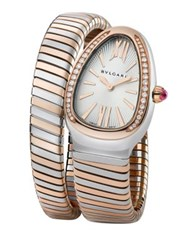Bulgari Serpenti Diamond 18K Rose Gold And Stainless Steel Tubogas Bracelet Watch Rose Gold Silver