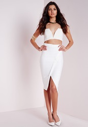 Missguided Bandage Split Midi Skirt White Beige