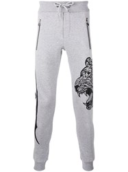 Philipp Plein Embroidered Track Trousers Men Cotton M Grey