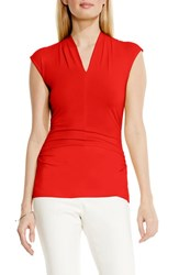 Vince Camuto Women's Side Ruched V Neck Top Fiery Red