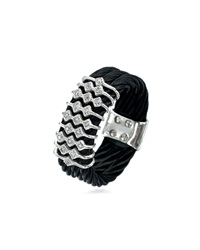 Charriol Noir Stainless Steel Cable Ring W Diamonds Black