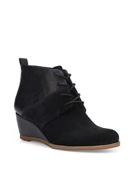 Franco Sarto Alibi Suede Lace Up Wedge Booties Black