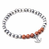 Anchor And Crew Red Jasper Keel Stone Silver Bracelet
