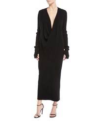 Urban Zen Ribbed Cowl Neck Cashmere Cocoon Dress Black
