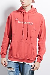Forever 21 Happiness Distressed Hoodie Red