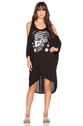 Lauren Moshi Gayle Skull Helmet Open Shoulder Dress Black