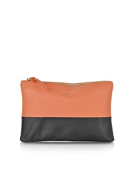 Le Parmentier Color Block Nappa Leather Zip Pouch Black Coral