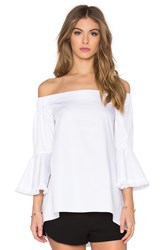 Nicholas Off Shoulder Fringe Top White