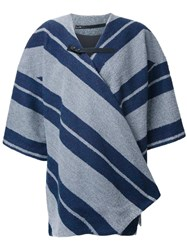 Muller Of Yoshiokubo Contrast Striped Print Poncho Blue