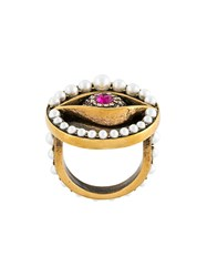 Alexander Mcqueen Eye Ring Pearl