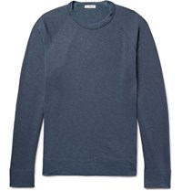 James Perse Loopback Supima Cotton Jersey Sweatshirt Storm Blue