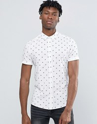 Asos Abstract Polka Dot Shirt In Skinny Fit White
