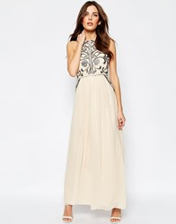 Little Mistress Maxi Dress With Detailed Bodice Cream