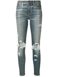 Amiri Distressed Skinny Jeans Blue
