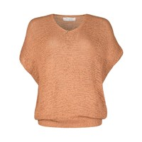 Paisie Tan Loose Knit V Neck Top Brown