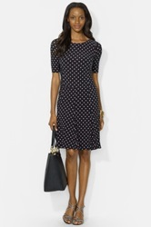 Lauren Ralph Lauren Polka Dot Matte Jersey Midi Dress Regular And Petite Black