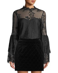 Cupcakes And Cashmere Davey Lace Bell Sleeve Illusion Blouse Black