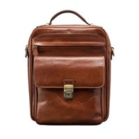 Maxwell Scott Bags Luxury Italian Leather Men's Large Shoulder Bag Santino L Chestnut Tan Brown