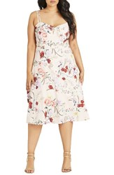 City Chic Plus Size Women's Daytime Diva Fit And Flare Dress Nude Botanical Floral