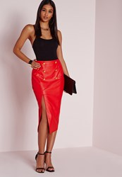 Missguided Gold Button Split Faux Leather Midi Skirt Red Red
