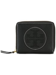 Tory Burch Perforated Logo Zipped Wallet Black