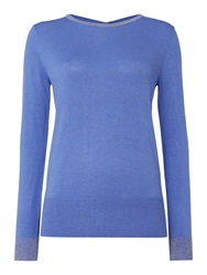 Biba Button Back Sparkle Crew Neck Jumper Blue