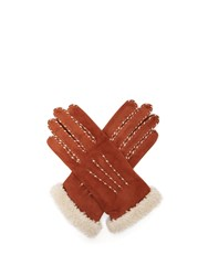 Agnelle Suede And Wool Trimmed Gloves Camel