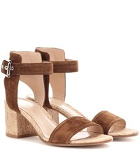 Gianvito Rossi Rikki Low Suede Sandals Brown