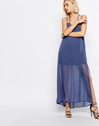 Religion Merge Maxi Dress In Moonlight Blue Blue