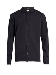 Christophe Lemaire Spread Collar Cotton Blend Shirt Navy