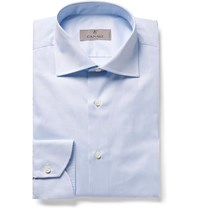 Canali Light Blue Slim Fit Cutaway Collar Striped Cotton Twill Shirt Blue